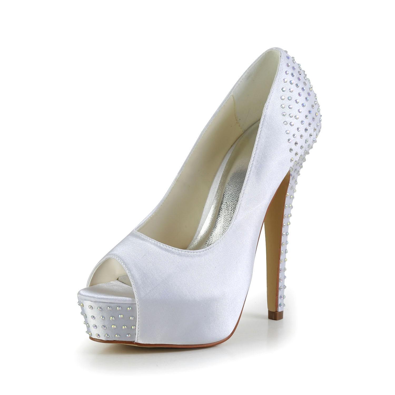 Scarpe Da Sposa Con Brillantini.Donna Raso Tacco A Spillo Peep Toe Piattaforme White Scarpe Da