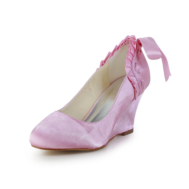 Scarpe Da Sposa Zeppa.Donna Unique Raso Zeppa Punta Chiusa Pink Scarpe Da Sposa Hebeos It