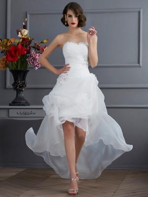 Principessa Scollatura a cuore Senza Maniche Perline Asimmetrico Del Organza Abiti da Matrimonio