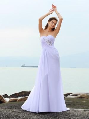Tubino Scollatura a cuore Perline Senza Maniche Lungo Chiffona Spiaggia Abiti da Matrimonio