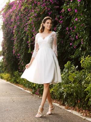 Principessa Scollo a V Manica 3/4 Corto Chiffona Abiti da Matrimonio