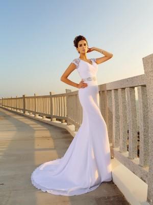 Tubino Scollo a V Perline Senza Maniche Lungo Chiffona Spiaggia Abiti da Matrimonio