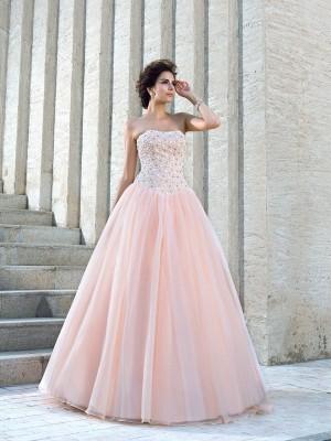 Da ballo Senza spalline Perline Senza Maniche Lungo Raso Abiti da Matrimonio