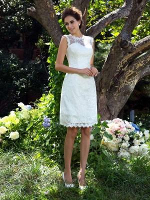 Principessa Sheer Neck Applique Senza Maniche Corto Raso Abiti da Matrimonio