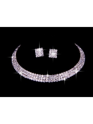 Great Ceco Strass Nozze Collane Orecchini Set