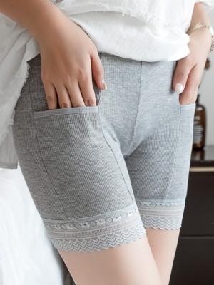 Taglia grossa Women's Cotton Pizzo With Pocket Elastic Safety Pantaloni/Safety Cortos