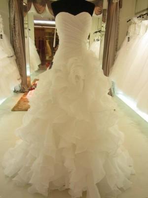 Da ballo Increspature Scollatura a cuore Del organza Senza maniche Strascico Corto Abiti da Matrimonio