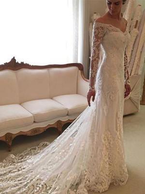 Tubino Maniche lunghe Pizzo Spalle scoperte Strascico Corto Abiti da Sposa