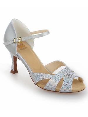 Donna Raso tacco a spillo Peep Toe Con Sparkling Glitter Scarpe da ballo