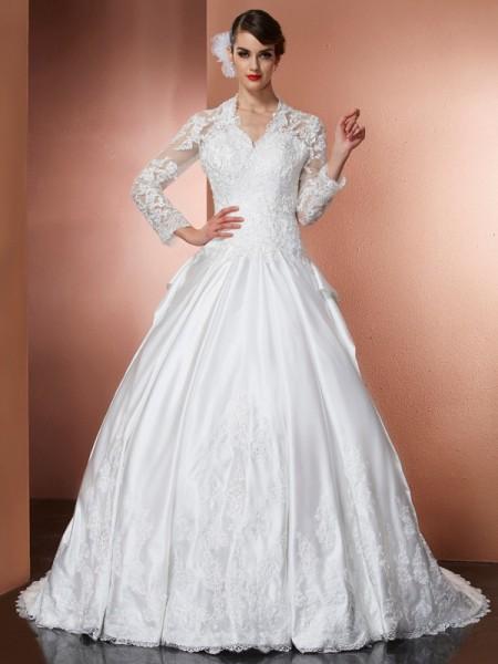 Principessa Scollo a V Maniche Lunghe Applique Lungo Raso Abiti da Matrimonio