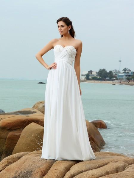 Principessa Scollatura a cuore Perline Senza Maniche Lungo Chiffona Spiaggia Abiti da Matrimonio