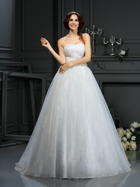 Principessa Scollatura a cuore Applique Senza Maniche Lungo Del Organza Abiti da Matrimonio