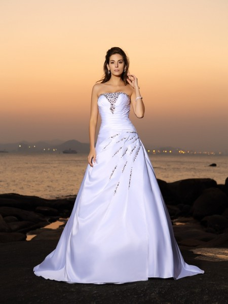 Principessa Senza spalline Perline Senza Maniche Lungo Raso Spiaggia Abiti da Matrimonio