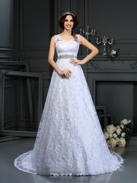 Principessa Scollo a V Pizzo Senza Maniche Lungo Raso Abiti da Matrimonio