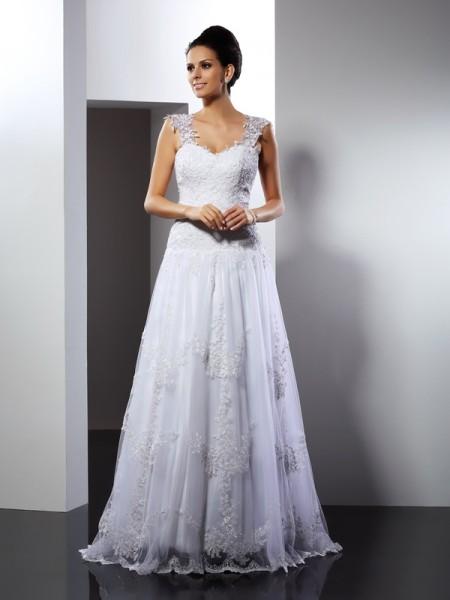 Principessa Spalline Applique Senza Maniche Lungo Pizzo Abiti da Matrimonio