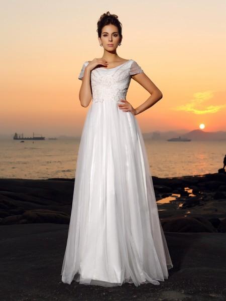 Principessa Spalle scoperte Perline Maniche corte Lungo Tyll Spiaggia Abiti da Matrimonio