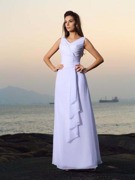 Principessa Scollo a V Plissè Senza Maniche Lungo Chiffona Spiaggia Abiti da Matrimonio
