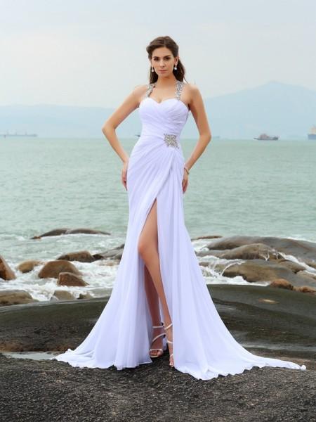 Tubino Spalline Perline Senza Maniche Lungo Chiffona Spiaggia Abiti da Matrimonio