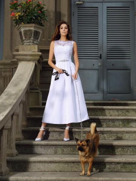 Principessa Scollo a barchetta Applique Senza Maniche Lungo Raso Abiti da Matrimonio