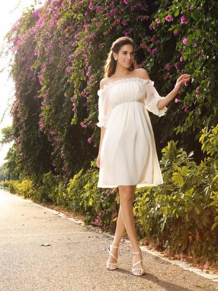 Principessa Spalle scoperte Perline Mezze Maniche Corto Chiffona Abiti da Matrimonio