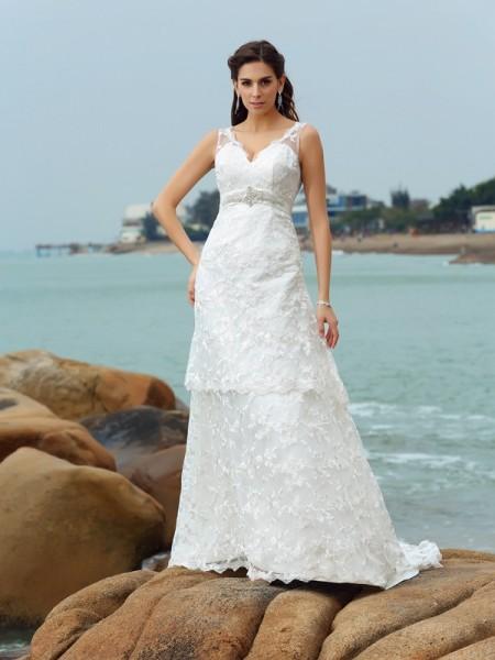Principessa Spalline Applique Senza Maniche Lungo Raso Spiaggia Abiti da Matrimonio