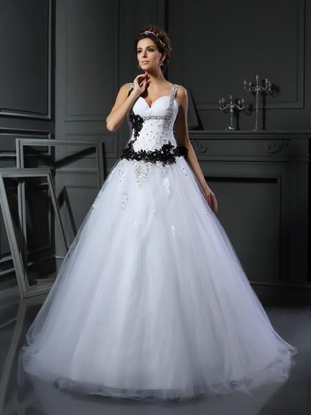 Da ballo Spalline Perline Senza Maniche Lungo Tyll Abiti da Matrimonio