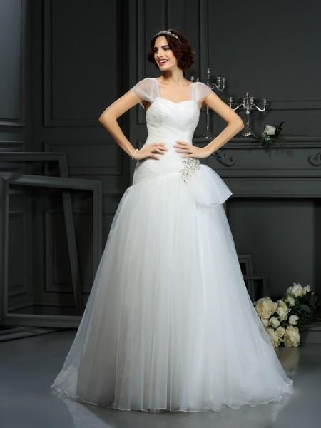 Principessa Scollatura a cuore Perline Senza Maniche Lungo Del Organza Abiti da Matrimonio
