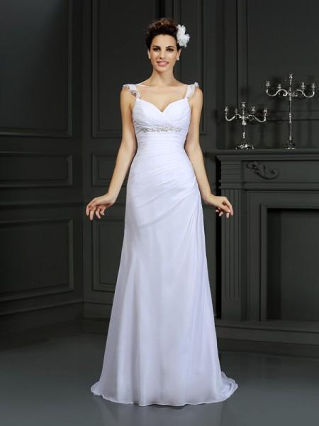 Sirena Spalline Perline Senza Maniche Lungo Chiffona Abiti da Matrimonio