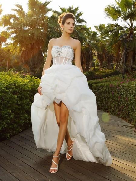 Principessa Scollatura a cuore Perline Senza Maniche Asimmetrico Del Organza Abiti da Matrimonio
