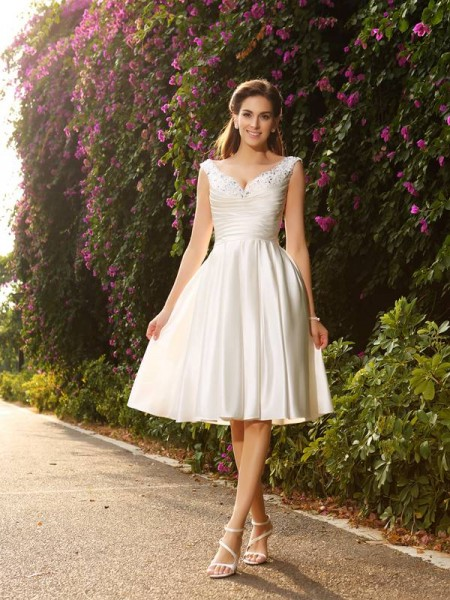 Principessa Scollo a V Perline Senza Maniche Corto Raso Abiti da Matrimonio