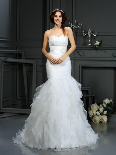 Sirena Scollatura a cuore Perline Senza Maniche Lungo Del Organza Abiti da Matrimonio