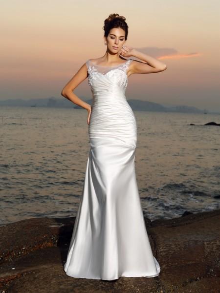 Sirena Scollatura Tonda Perline Senza Maniche Lungo Raso Spiaggia Abiti da Matrimonio