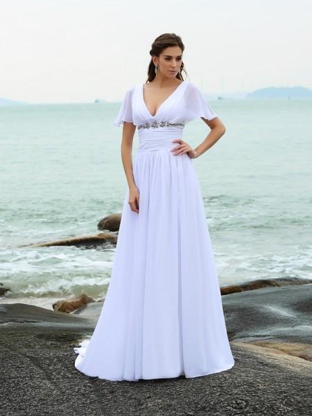 Principessa Scollo a V Volant Maniche corte Lungo Chiffona Spiaggia Abiti da Matrimonio