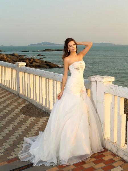 Da ballo Senza spalline Fiori Senza Maniche Lungo Raso Spiaggia Abiti da Matrimonio