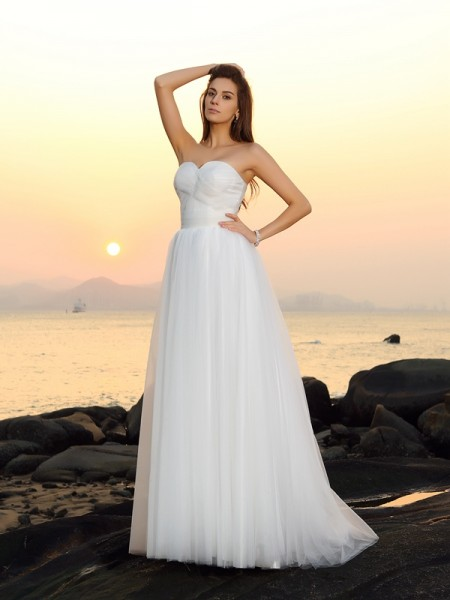 Principessa Scollatura a cuore Senza Maniche Lungo Rete Spiaggia Abiti da Matrimonio
