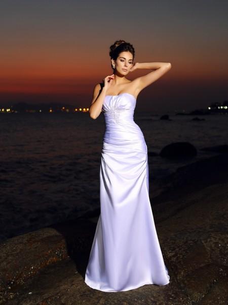 Sirena Scollatura a cuore Senza Maniche Lungo Raso Spiaggia Abiti da Matrimonio