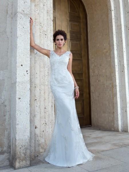 Sirena Scollo a V Applique Senza Maniche Lungo Rete Abiti da Matrimonio
