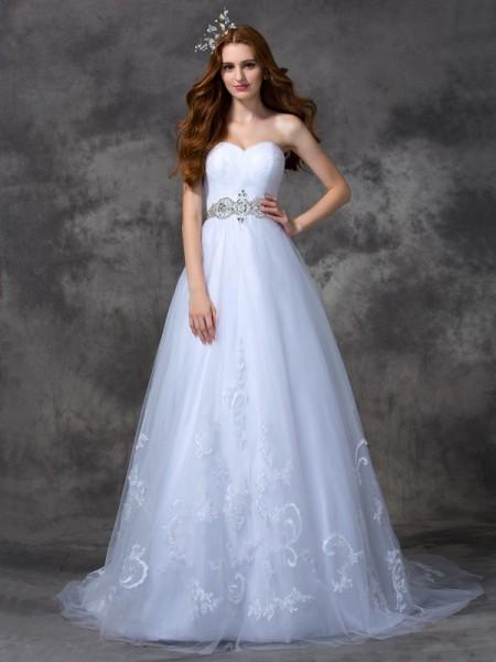 Principessa Scollatura a cuore Perline Senza Maniche Lungo Raso Abiti da Matrimonio