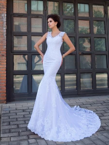 Sirena Scollo a V Applique Senza Maniche Lungo Raso Abiti da Matrimonio
