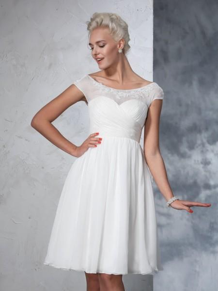 Principessa Sheer Neck Increspato Maniche corte Corto Chiffona Abiti da Matrimonio
