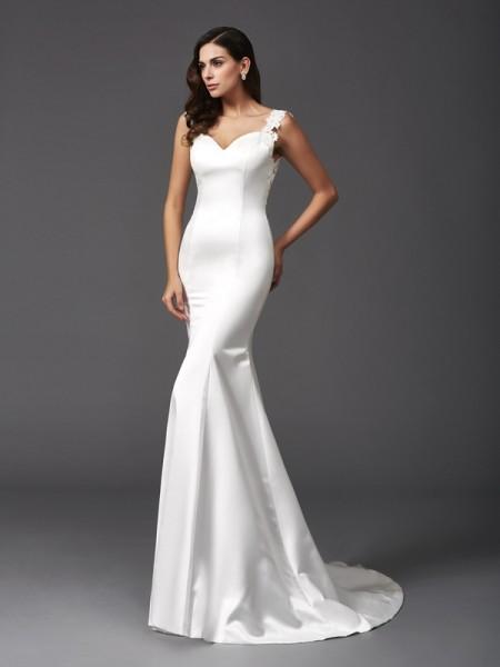 Sirena Spalline Perline Senza Maniche Lungo Raso Abiti da Matrimonio