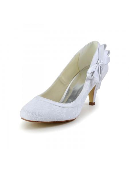 Donna Stupefacente Raso punta chiusa tacco a cono bianca Scarpe da sposa Con Fiocco