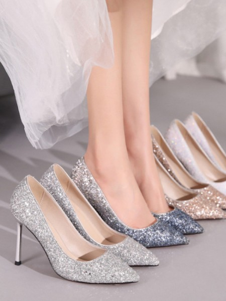 Women's Sparkling Glitter Closed Toe Stiletto Heel Tacchi alti