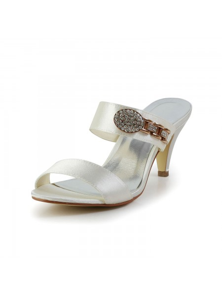 Donna Attractive Raso Peep Toe tacco a cono Con Strass Ivory Sandal Shoes
