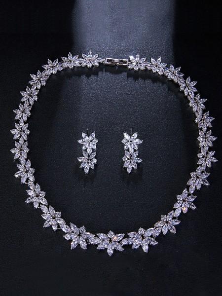 Occident Brilliant Lega With Flowers Wedding Bridal Gioielli Set
