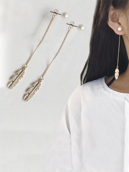 Ladies's Vintage Lungo Chain Leaf With Pearl Orecchini