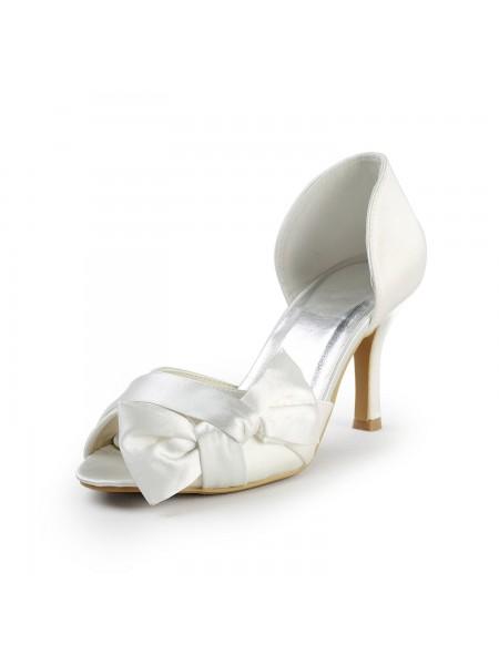 Donna Raso tacco a spillo Peep Toe Con Fiocco White Scarpe da sposa
