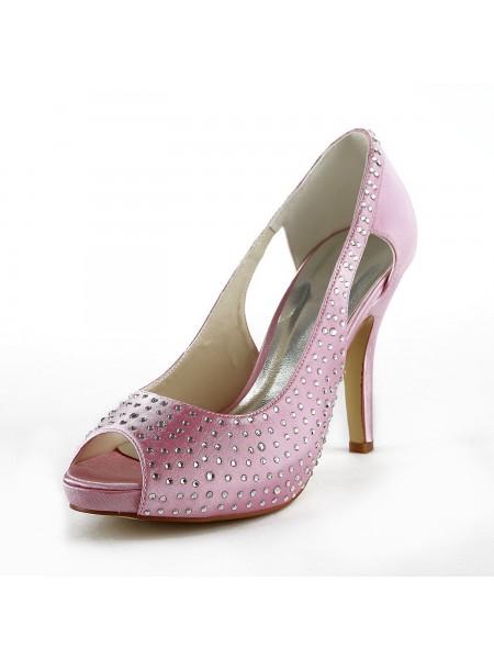 Donna Beautiful Raso tacco a spillo Peep Toe Con Strass Pink Scarpe da sposa