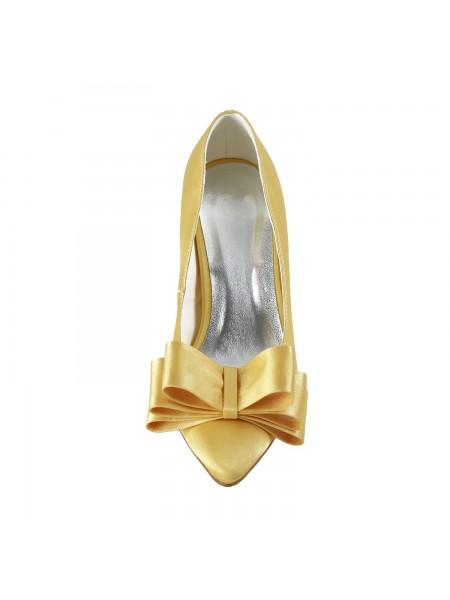 Donna Raso Spool Heel punta chiusa Fiocco Gold Scarpe da sposa