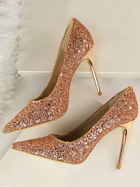 Women's Sparkling Glitter Stiletto Heel Closed Toe Tacchi alti